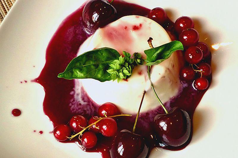 Cherries basil panna cotta